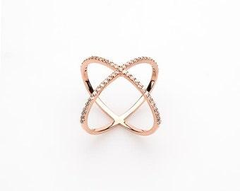 14k Rose Gold Engagement Ring - 14K Gold Cross Cross Ring - X Ring - Diamond Engagement Ring - Dainty Ring -  Mothers Day Gift