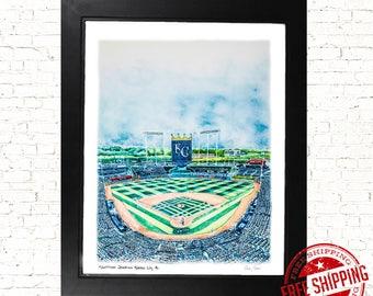 Kauffman Stadium Kansas City Royals Art Print