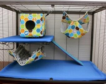 3 piece set LARGE rat hammocks cube fringe double ferret hammock chinchilla hammock pet hammock