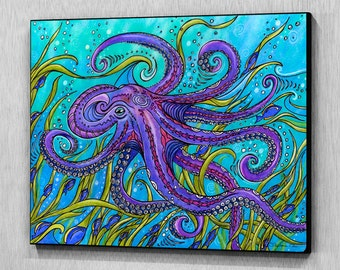 Octopus Wood Wall Art, Ready to Hang, Wood Art