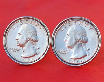 US 1955 ~ 1964 Washington Quarter Dollar BU Uncirculated 90% Silver Coin Cufflinks NEW