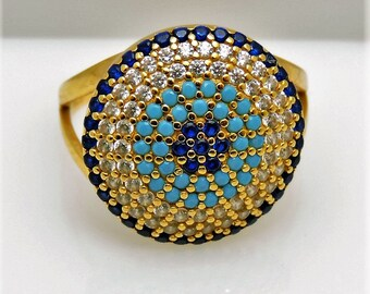 Lady's Yellow 21K  sapphire, turquoise, diamond Cluster Fashion Ring Size 5