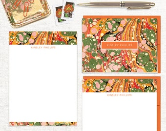 complete personalized stationery set - vintage marble paper KINSLEY ORANGE - note cards - notepad - custom stationary - colorful