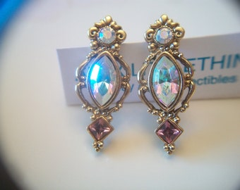 Ornate 1928 Pink Victorian Style Earrings Aurora Borealis Iridescent Gold Tone Costume Jewelry Fashion Accessories For Her