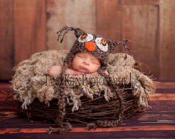 READY Baby Hat -  Baby Boy Hat  - Baby Owl Hat -  Baby Girl Hat - Great Details Soft Mohair Blend Yarn with Button Eyes