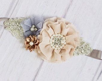 Maternity Sash, Rustic Flower Girl Sash, Burlap Sash, Bridal Belt / Bridal Sash, Bridesmaid Sashes, Ivory Sash  / Flower Girl Sash,