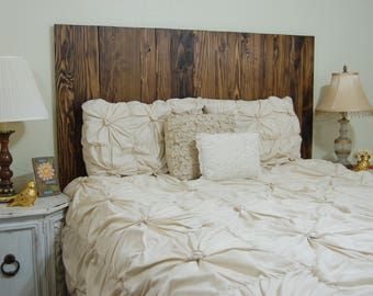 Dark Walnut Oil Based Stain– King Hanger Headboard with Vertical Boards. Mounts on wall. Adjust height to your convenience.Easy installation