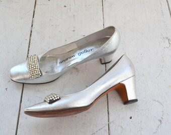1960s Andrew Geller Silver Heels, Size 7AA