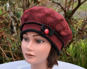 Hat beret hat in dark red and black thick jersey waist 55.5 56.5 cm