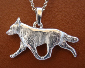 Large Sterling Silver Australian Cattle Dog Moving Study Pendant