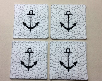 Coasters set of 4, quilted, anchor.