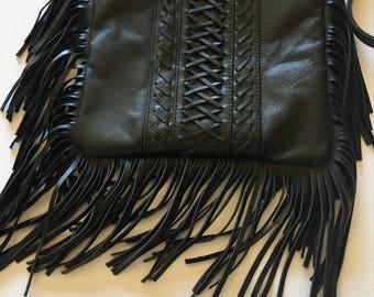 Fringed leather handbag