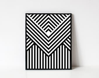 Geometric Art, Wall Art, Printable Wall Art, Geometric Print, Modern Wall Art, Line Art, Black and White Stripes, INSTANT DOWNLOAD