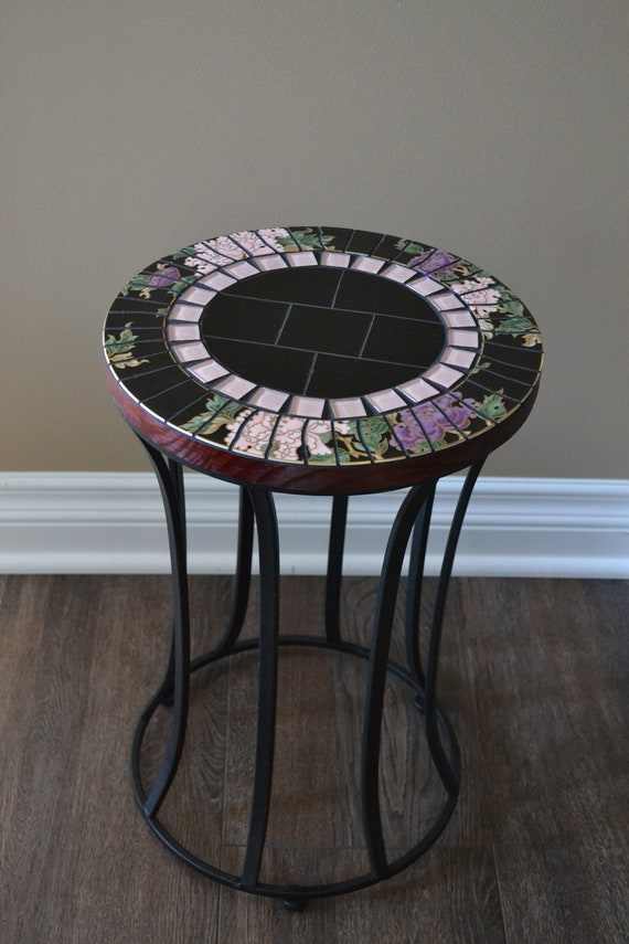 Elegant Broken Vintage China Mosaic Side Table Plant Stand