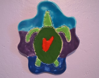 Love Green Sea Turtle in Waves