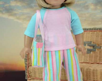 American Girl 3 piece PAJAMA Loungewear Set with Pink Blue Baseball TEE Top Pants and Overnight BAG for American Girl or 18 inch doll