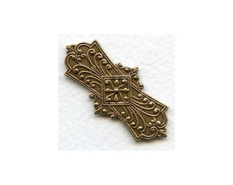 Large Thick Close Filigree Stamping, Embossed Oxidized Brass Stampings 45mm, Jewelry Making Supplies, 2PC