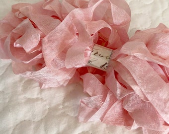 Hand Dyed Ribbon Petal Pink 10 Yards