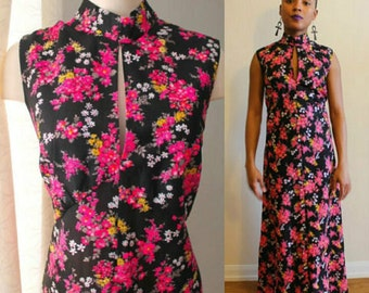 70s Floral Sleeveless Maxi Dress Size Large