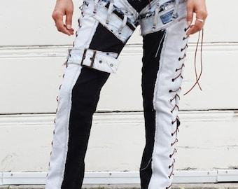 Light Blue Jeans Chopper Style On Vintage Black Stretch Denim Sides  Open Lace ups
