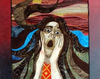 Self Portrait, Scream, Art quilt on canvas, Home Decor, OOAK