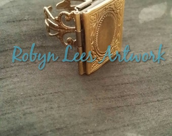 Bronze Gold Filigree Antique Style Book Locket Ring, Fully Adjustable