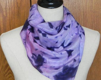 Hand dyed square silk scarf in shades of ultra violet, ready to ship abstract silk scarf #571