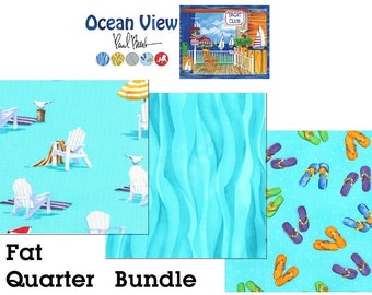 Ocean View Fat Quarter BUNDLE - Moda Quilting Fabric FQs // Beach Fabric