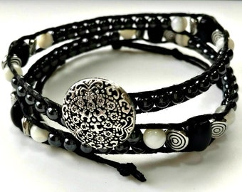 Handmade Double Wrap Hemp Wrap Bracelet or Hemp Choker with Hematite, Black Glass,  and Mother of Pearl Beads