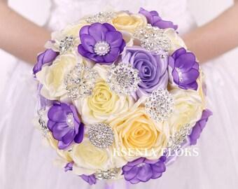 Purple bouquet Wedding bouquet Brooch bouquet Lilac bouquet Fabric roses bouquet Purple Ivory bouquet Bridal bouquet Bridesmaids bouquet