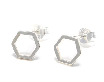 Hexagon Silver earrings 925 sterling silver