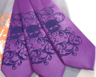 RokGear Necktie - Purple skull tie. mens microfiber necktie, Distressed Skull design by RokGear