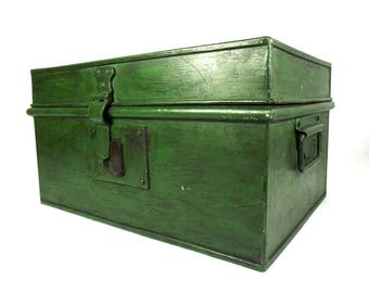 Large Vintage Green Metal Deed Box, Large Metal Strong Box, Green Storage Box, Metal Tool Box, Rustic Metal Box, Tin Box, Industrial Decor
