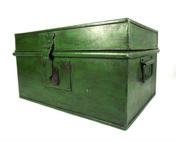 Large Vintage Green Metal Deed Box