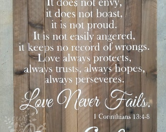 Corinthians 13:4-8 Sign,  Wedding Sign, Love Is Patient, Love Never Fails, Anniversary, Newlywed Sign, Scripture, Custom Name Sign