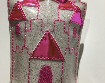 Castle embellished in Pink Luster and White Glitter Vinyl