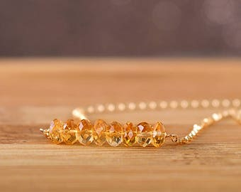Natural Citrine Bracelet, Golden Citrine Chain Bracelet, November Birthstone Bracelet Delicate Bracelet 14k Rose Gold Filled Sterling Silver