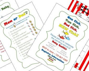 Dr Seuss Theme Baby Shower Bundle Printables