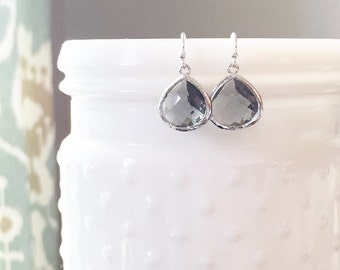 MOLLY | Silver + Gray Dangle Earrings | Gray Bridesmaid Earrings | Silver Teardrop Earrings | Gray Drop Earrings | Charcoal Gray Earrings
