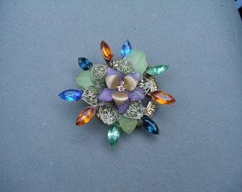 Brooch pin flower upcycled vintage base, swarovski crystals, more- etsyBead, trashionteam, OlympiaEtsy, FunkyAlternativeJewelry, , WWWG
