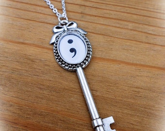 Mental Health Semi Colon Key To Recovery Necklace