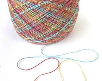 Hand Dyed Yarn Tencel Wool Lace Yarn 895 yards Weaving Yarn Knitting Crochet Scarf Yarn Spring Rainbow Variegated - Sunrise
