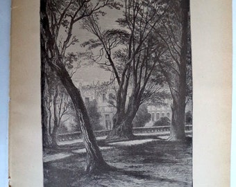 Kensington Gardens 1888 Antique Original Engraving Print, Kensignton Palace Antique Print, England, Wall Decor, Art, gift, Garden, 12x10