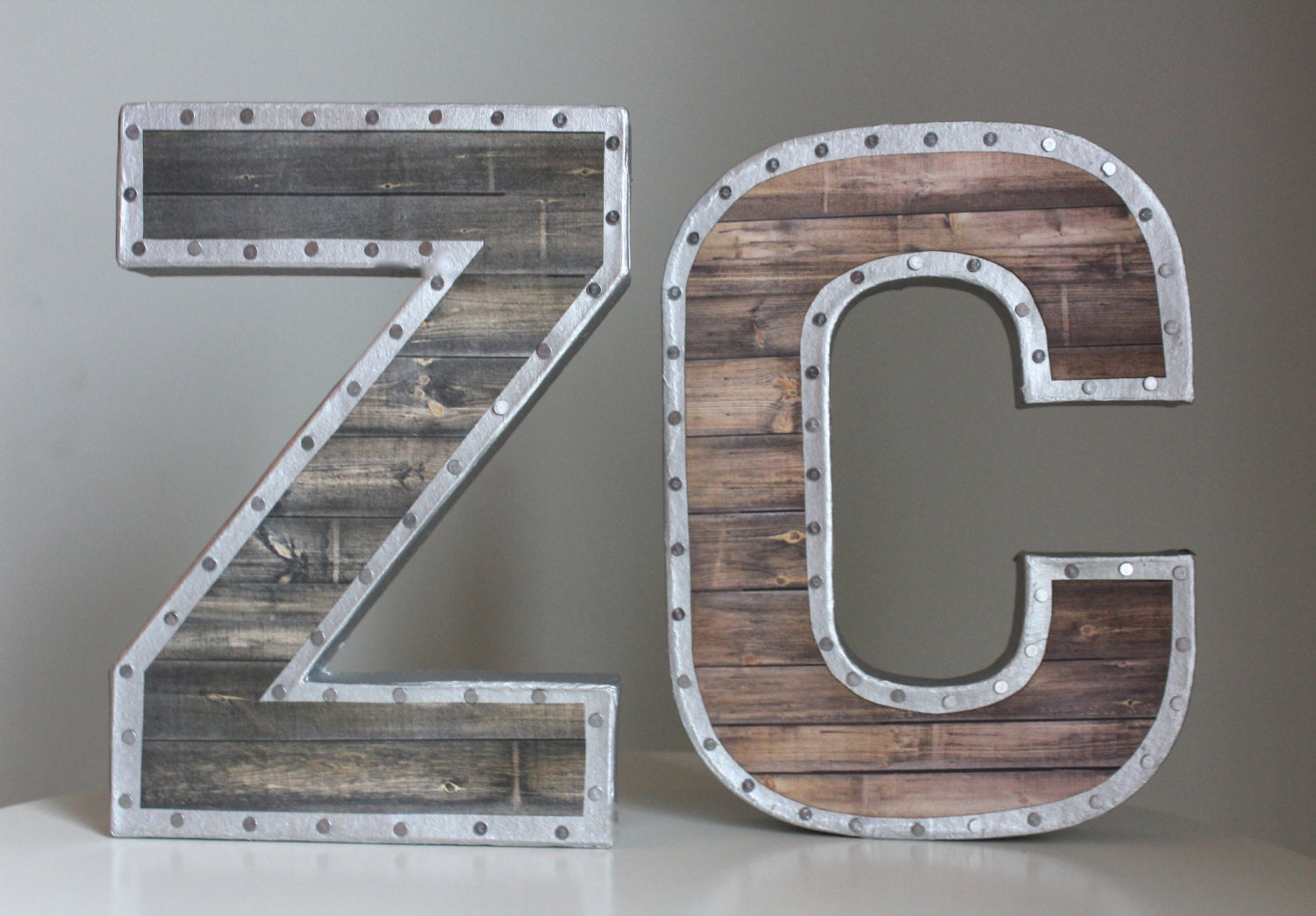 Wood And Metal Letters 8 Faux Reclaimed Wood Lettersmetal Letters Wooden
