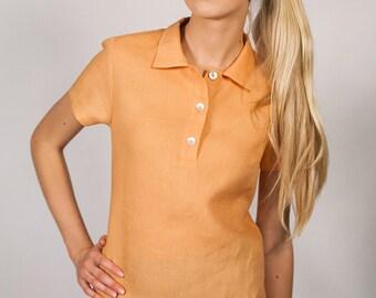 Linen Polo Shirt/ Linen Top Eco Friendly/ Linen Blouse With Color/Organic Polo Shirt/ Natural Women Clothing/ Linen Clothing/ Linen Tunic