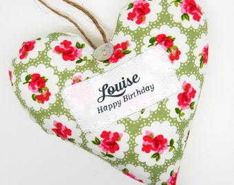 Personalised birthday decoration with Name and Greeting - Scented Fabric Heart - Choice of Fabric - Supplied Gift Boxed