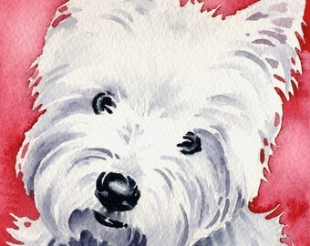West Highland Terrier Art Print Signed by Artist DJ Rogers