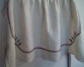 Vintage Linen Apron, Ethnic Embroidery, Embroidered Linen Half Apron