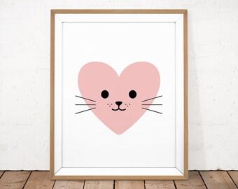 Baby Room Printable, Cat Printable, Heart Baby Print, Pink Kitty Print, Kawaii Poster, Baby Girl Poster, Animal Nursery, Printable Nursery