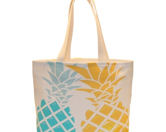 Small Shopping Tote, Waterproof lined, Gold/Blue Pineapples, Made in Hawai'i